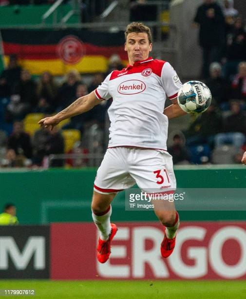 Marcel Sobottka of Fortuna Duesseldorf controls the ball during the DFB Cup second round match between Fortuna Duesseldorf and Erzgebirge Aue at...
