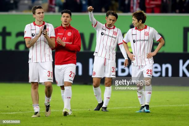 Marcel Sobottka Taylan Duman Takashi Usami and Genki Haraguchi of Duesseldorf celebrate after the Second Bundesliga match between Fortuna Duesseldorf...