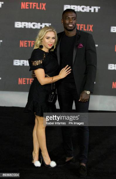 Marcel Somerville and Gabby Allen arrive for the European premiere of Bright at the BFI Southbank in London