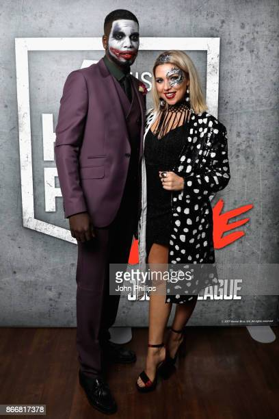 Marcel Somerville and Gabby Allen attend the Kiss Haunted House Party held at SSE Arena on October 26 2017 in London England