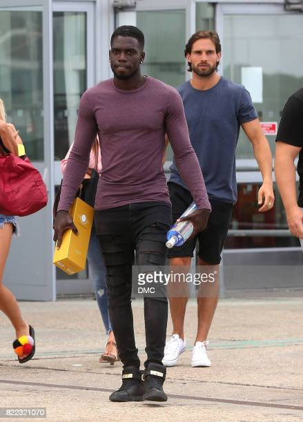 Marcel Somerville from Love Island arriving at Stanstead airport with alot of booze on July 25 2017 in London England