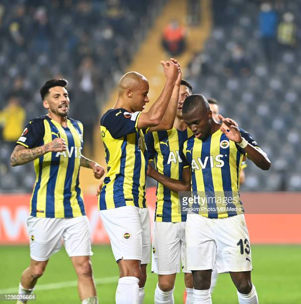 Marcel Tisserand , Mesut Ozil and Enner Valencia of Fenerbahce during the UEFA Europa League group D match between Fenerbahce and Royal Antwerp FC at...
