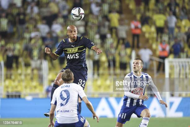 Marcel Tisserand of Fenerbahce in action against Riku Riski of HJK Helsinki during UEFA Europa League play-off soccer match between Fenerbahce and...
