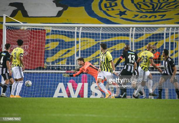 Marcel Tisserand of Fenerbahce scores a goal during Turkish Super Lig week 10 soccer match between Fenerbahce and Besiktas at Ulker Stadium in...