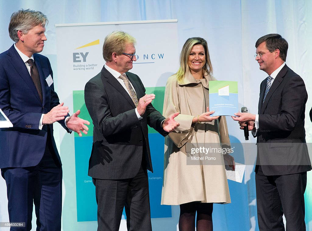 Marcel van Loo, Hans de Boer, Queen Maxima of The Netherlands and Jan Peter Balkenende, Chairman of the Dutch Sustainable Growth Coalition, attend the presentation ceremony of the Dutch Sustainable Growth Report on December 2, 2014 in Amsterdam, The Netherlands.