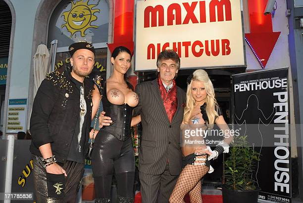 Marcel Walz Micaela Schaefer Danny Bellens and Mia Julia Magma pose for a photograph during the Penthouse cover release party at Maxim Nightclub on...