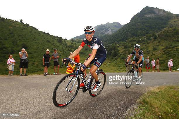 Marcel Wyss of Switzerland riding for IAM Cycling and Michal Golas of Poland riding for Etixx-Quick Step iare pictured as they climb the Port de Lers...
