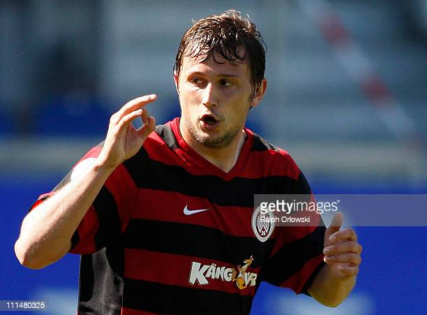 Marcel Ziemer of Wehen celebrates his goal against Bayern Muenchen during the Third League match between SV Wehen Wiesbaden and Bayern Muenchen II at...
