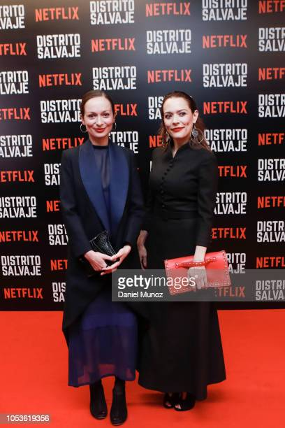 Marcela Acevedo and Carolina Acevedo pose at the red carpet of the Netflix series 'Distrito Salvaje' premiere on October 10 2018 in Bogota Colombia
