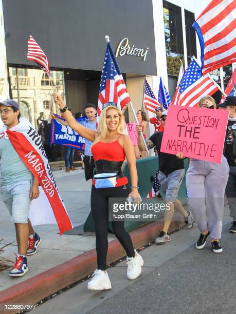 Marcela Iglesias is seen during ProTrump Demonstration in West Hollywood on September 19 2020 in Los Angeles California