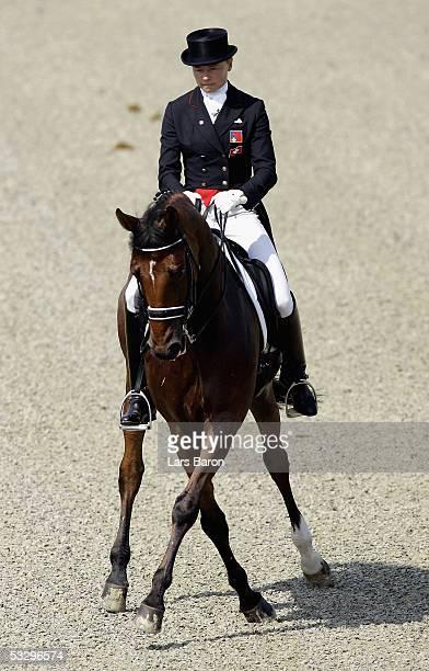 Marcela KrinkeSusmelj of Switzerland rides her horse Fibrin during the Dressage European Championships on July 28 2005 in Hagen Germany