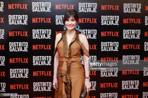 Marcela Mar pose at the red carpet of the Netflix series 'Distrito Salvaje' premiere on October 10 2018 in Bogota Colombia
