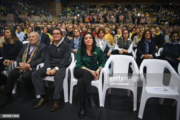 Marcela Topor wife of the former Catalan president Carles Puigdemont attends a Junts Per Catalunya party rally for the forthcoming Catalan election...
