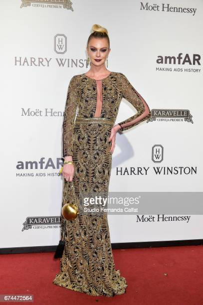 Marcele Becker attends the 7th Annual amfAR Inspiration Gala on April 27 2017 in Sao Paulo Brazil