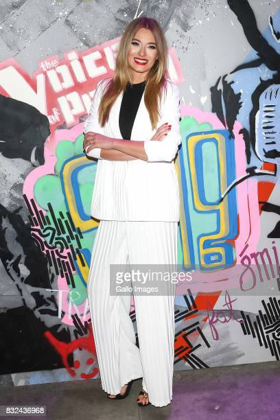 Marcelina Zawadzka attends the press conference announcing 'The Voice of Poland' reality talent show for TVP2 on August 11 2017 in Warsaw Poland The...