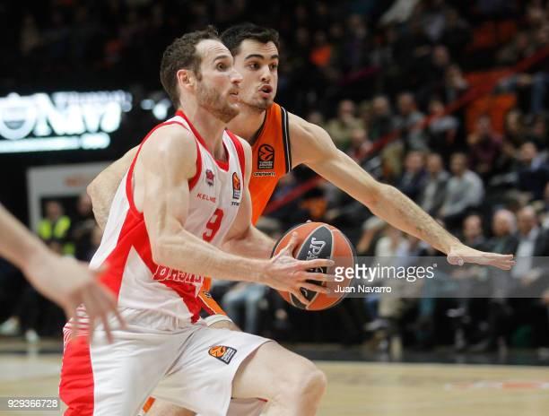 Marcelinho Huertas #9 of Baskonia Vitoria Gasteiz competes with Alberto Abalde #6 of Valencia Basket during the 2017/2018 Turkish Airlines EuroLeague...