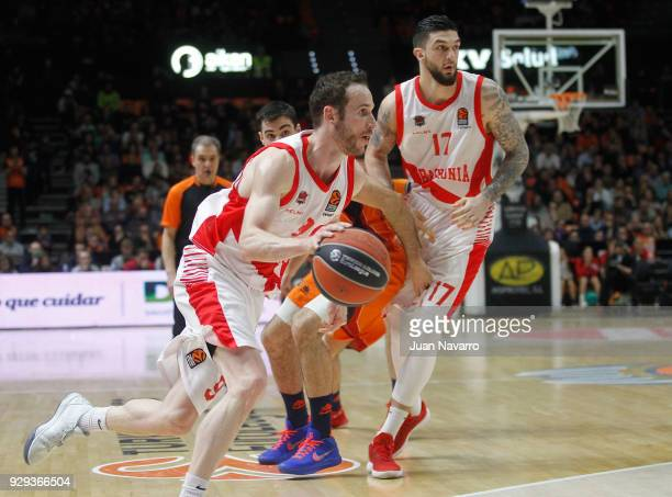 Marcelinho Huertas #9 of Baskonia Vitoria Gasteiz in action during the 2017/2018 Turkish Airlines EuroLeague Regular Season Round 25 game between...