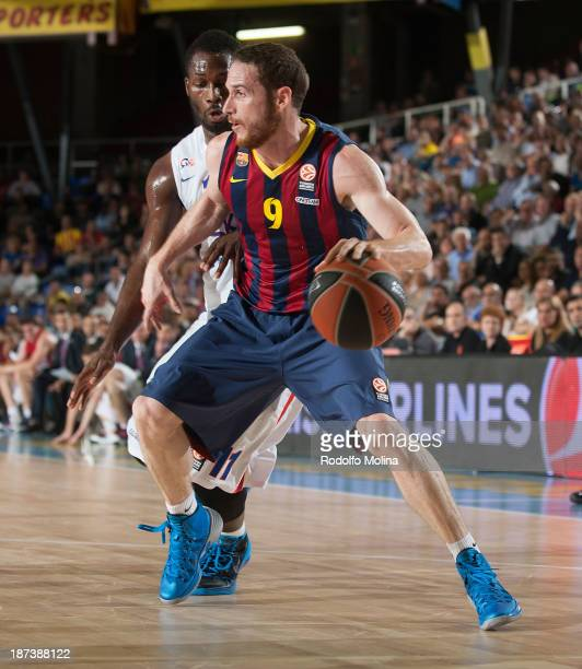 Marcelinho Huertas #9 of FC Barcelona in action during the 20132014 Turkish Airlines Euroleague Regular Season Date 4 game between FC Barcelona Regal...