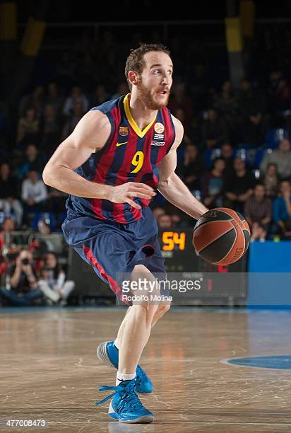 Marcelinho Huertas #9 of FC Barcelona in action during the 20132014 Turkish Airlines Euroleague Top 16 Date 9 game between FC Barcelona Regal v...
