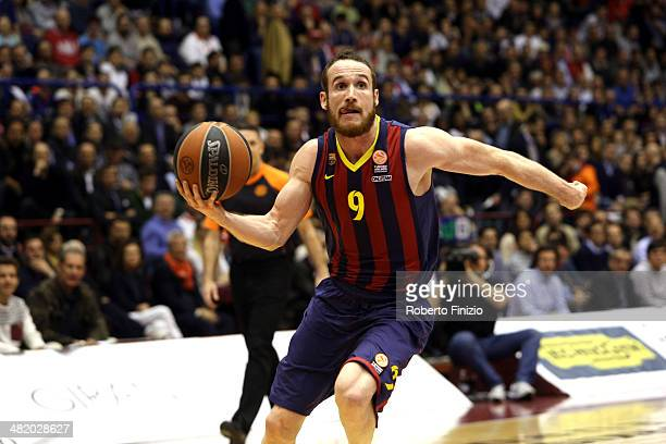 Marcelinho Huertas, #9 of FC Barcelona in action during the 2013-2014 Turkish Airlines Euroleague Top 16 Date 13 game between EA7 Emporio Armani...