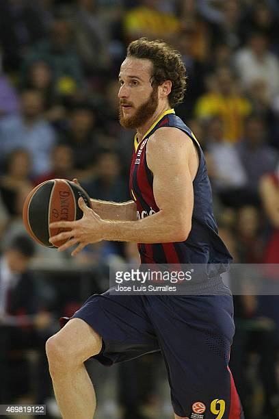 Marcelinho Huertas #9 of FC Barcelona in action during the 20142015 Turkish Airlines Euroleague Basketball Play Off Game 1 between FC Barcelona v...