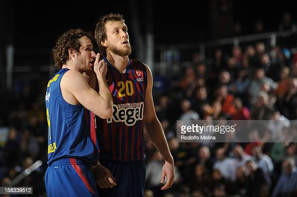 Marcelinho Huertas #9 of FC Barcelona Regal and Joe Ingles #20 in action during the 20122013 Turkish Airlines Euroleague Regular Season Game Day 10...