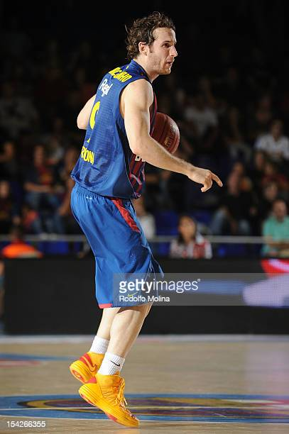 Marcelinho Huertas #9 of FC Barcelona Regal in action during the 20122013 Turkish Airlines Euroleague Regular Season Game Day 1 between FC Barcelona...
