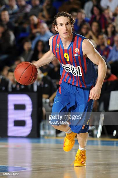 Marcelinho Huertas #9 of FC Barcelona Regal in action during the 20122013 Turkish Airlines Euroleague Regular Season Game Day 4 between FC Barcelona...