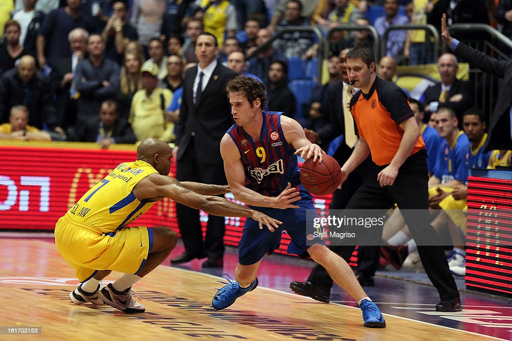 Marcelinho Huertas, #9 of FC Barcelona Regal in action during the 2012-2013 Turkish Airlines Euroleague Top 16 Date 7 between Maccabi Electra Tel Aviv v FC Barcelona Regal at Nokia Arena on February 14, 2013 in Tel Aviv, Israel.