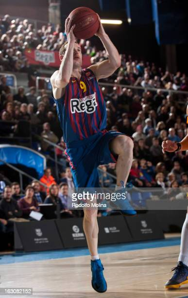 Marcelinho Huertas #9 of FC Barcelona Regal in action during the 20122013 Turkish Airlines Euroleague Top 16 Date 9 between FC Barcelona Regal v BC...