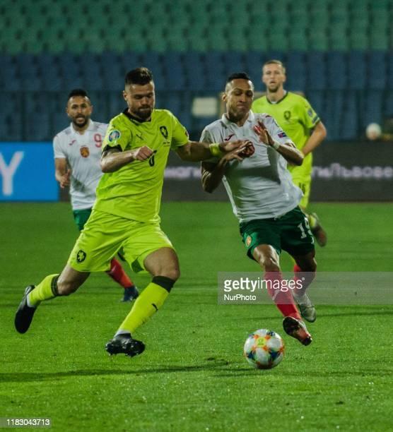 Marcelinho, of Bulgaria vies Omdrej Celustka of Czech Republic, during UEFA EURO 2020 Qualifications Bulgaria v Czech Republic behind closed doors at...