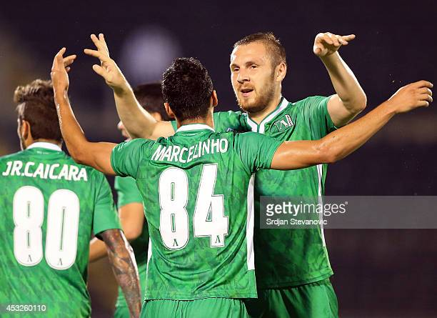 Marcelinho of FC Ludogorets Razgrad celebrate the goal with the Cosmin Moti during the UEFA Champions League third qualifying round 2nd leg match...