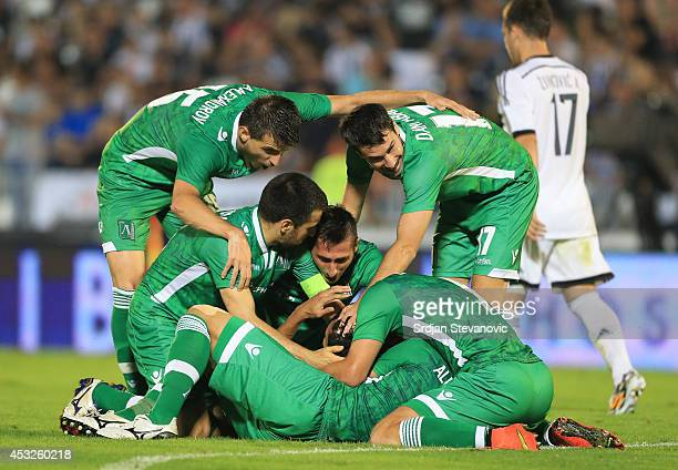 Marcelinho of FC Ludogorets Razgrad celebrate the goal with the team mates during the UEFA Champions League third qualifying round 2nd leg match...