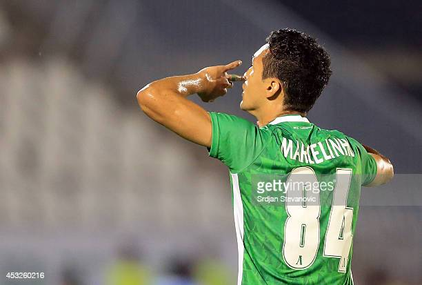 Marcelinho of FC Ludogorets Razgrad celebrates the goal during the UEFA Champions League third qualifying round 2nd leg match between Partizan...