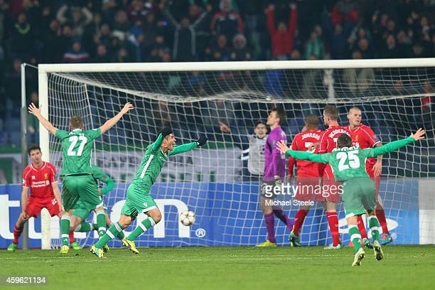 Marcelinho of Ludogerets celebrates the equalising goal during the UEFA Champions League Group B match between Ludogorets Razgrad and Liverpool at...