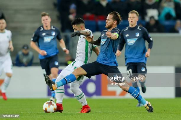 Marcelinho of Ludogorets and Eugen Polanski of Hoffenheim battle for the ball during the UEFA Europa League group C match between 1899 Hoffenheim and...