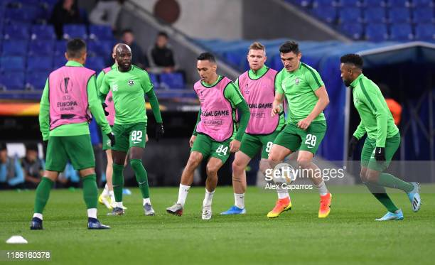 Marcelinho of Ludogorets and team mates warm up during the UEFA Europa League group H match between Espanyol Barcelona and PFC Ludogorets Razgrad at...
