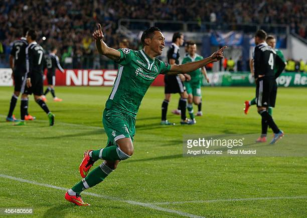 Marcelinho of Ludogorets celebrates after scoring the opening goal during the UEFA Champions League group B match between PFC Ludogorets Razgrad and...