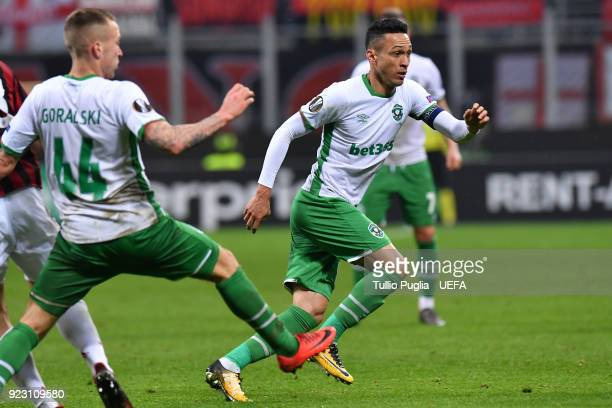 Marcelinho of Ludogorets Razgrad in action during UEFA Europa League Round of 32 match between AC Milan and Ludogorets Razgrad at the San Siro on...