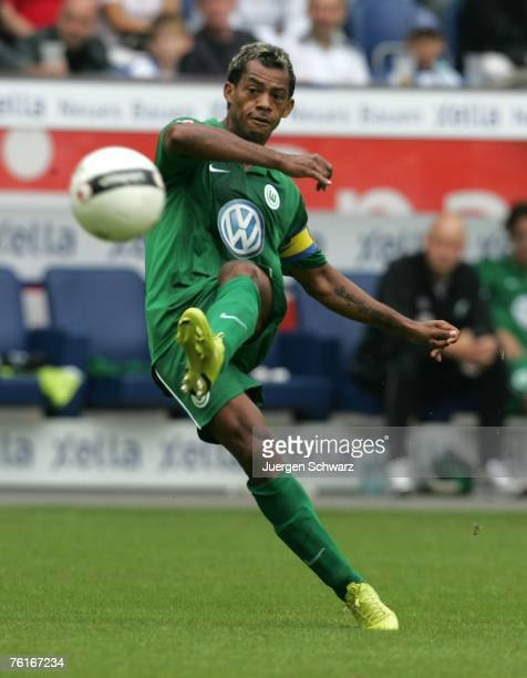 Marcelinho of Wolfsburg passes the ball during the Bundesliga match between MSV Duisburg and VfL Wolfsburg at the MSV Arena on August 18 2007 in...