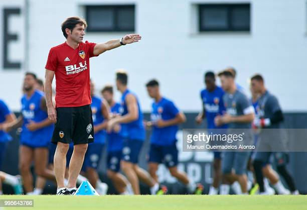 Marcelino Garcia Toral Manager of Valencia CF gives instructions during training session at Paterna Training Centre on July 10 2018 in Valencia Spain