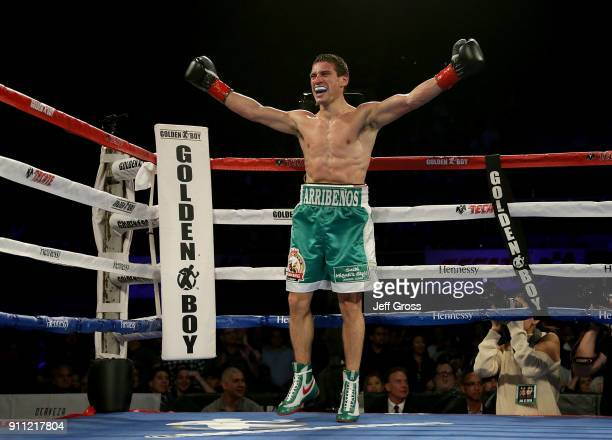Marcelino Lopez of Argentina celebrates his welterweight victory over Breidis Prescott of Colombia at The Forum on January 27 2018 in Inglewood...