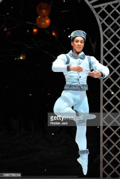 Marcelino Sambe as Blue Boy in The Royal Ballet's production of Frederick Ashton's Les Patineurs at The Royal Opera House on December 17 2018 in...