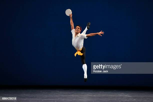 Marcelino Sambe in the Royal Ballet's production of George Balanchine's Tarantella at The Royal Opera House on May 18 2017 in London England