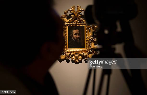 A Marcelio Venusti portrait by Michelangelo Buonarroti hangs on display at the Palacio de Bellas Artes in Mexico City Mexico on Tuesday June 23 2015...