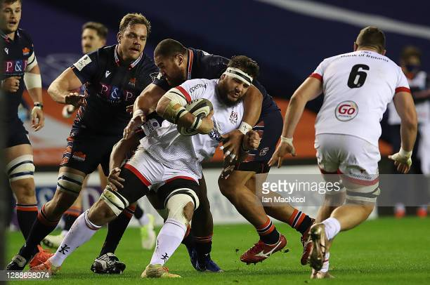 Marcell Coetzee of Ulster is tackled by David Cherry of Edinburgh Rugby during the Guinness PRO14 match between Edinburgh and Ulster at Murrayfield...