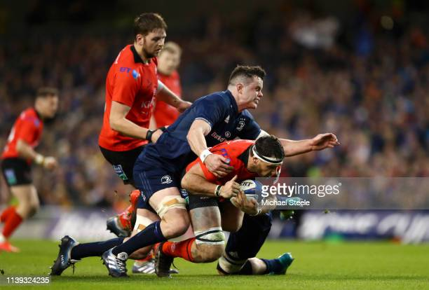 Marcell Coetzee of Ulster is tackled by James Ryan of Leinster during the Champions Cup Quarter Final match between Leinster Rugby and Ulster Rugby...