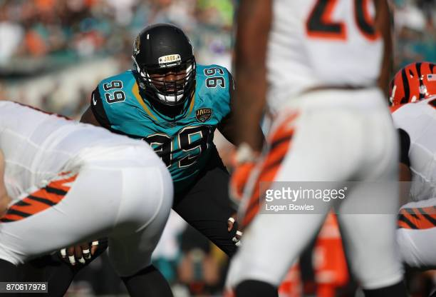 Marcell Dareus of the Jacksonville Jaguars waits for a play on the field in the second half of their game against the Cincinnati Bengals at EverBank...