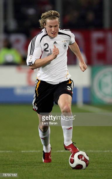 Marcell Jansen of Germany runs with the ball during the international friendly match between Germany and Denmark at the MSV Arena on March 28 2007 in...