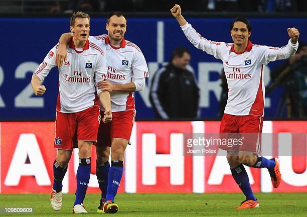 Marcell Jansen of Hamburg celebrates after scoring his team's first goal during the Bundesliga match between Hamburger SV and FSV Mainz 05 at Imtech...